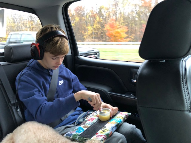 LapLander while sleeping in car on side